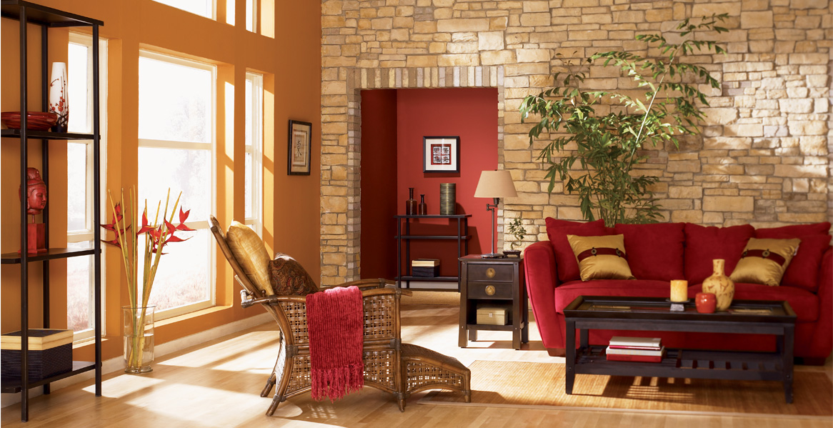 Orange painted room inspiration project gallery behr for Pumpkin spice paint living room