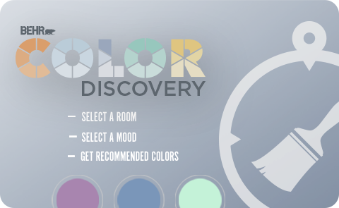 Graphic of Behr Color Discovery with bullet points showing that the tool helps select a room select a mood and get recommended colors