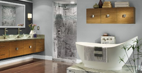 Global themed bathroom with gray walls, white trim, dual sink vanity and large rectangular mirror.