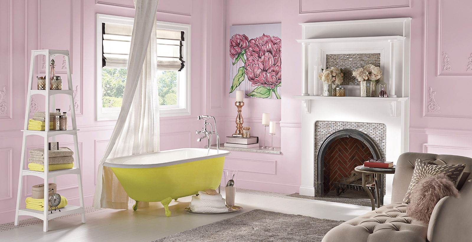 Inviting themed bathroom with pink walls, pink trim, yellow bathtub, and white fireplace.