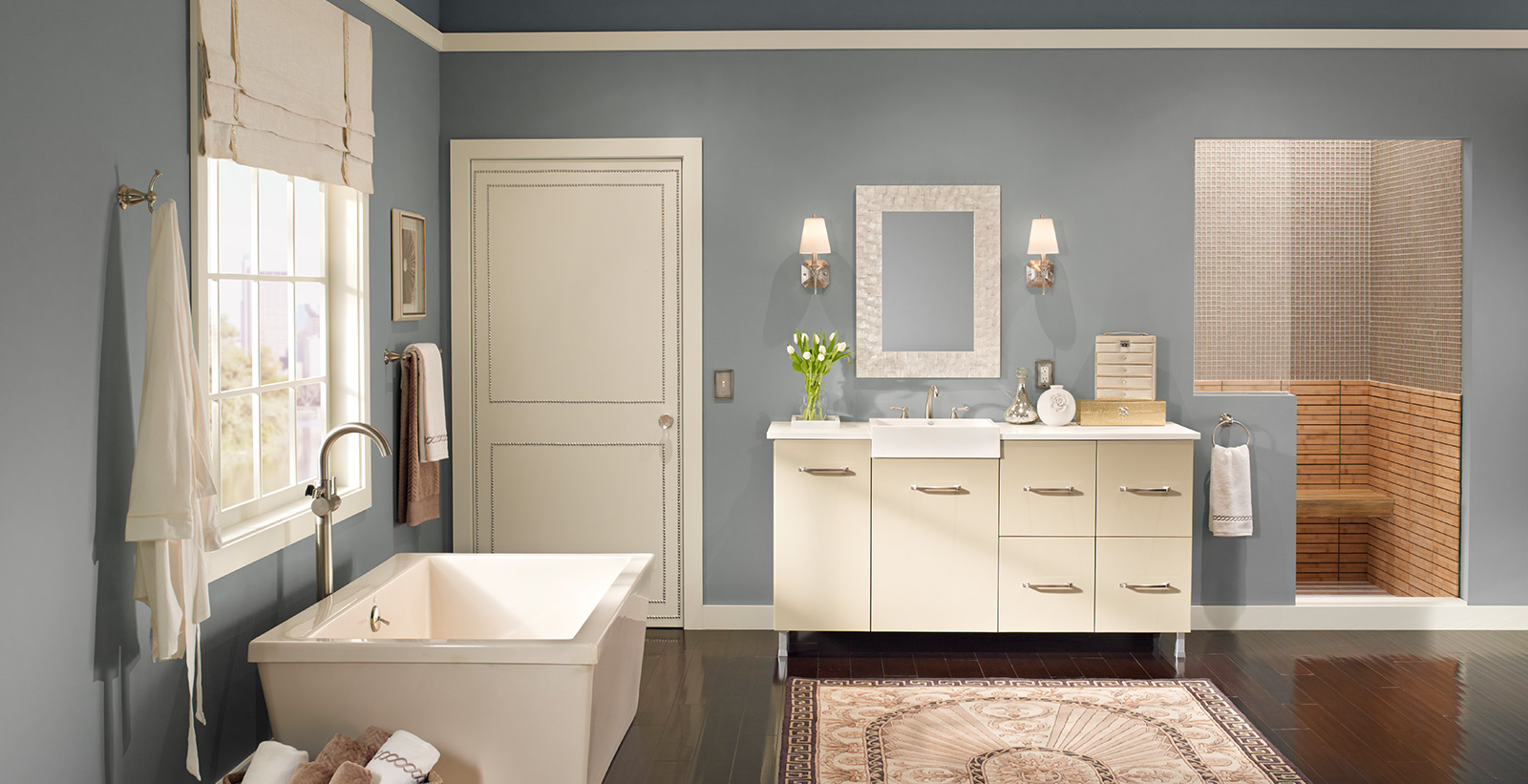 charming blue bathroom color schemes | Urban Bathroom | Relaxed and Calming Bathroom Gallery | Behr