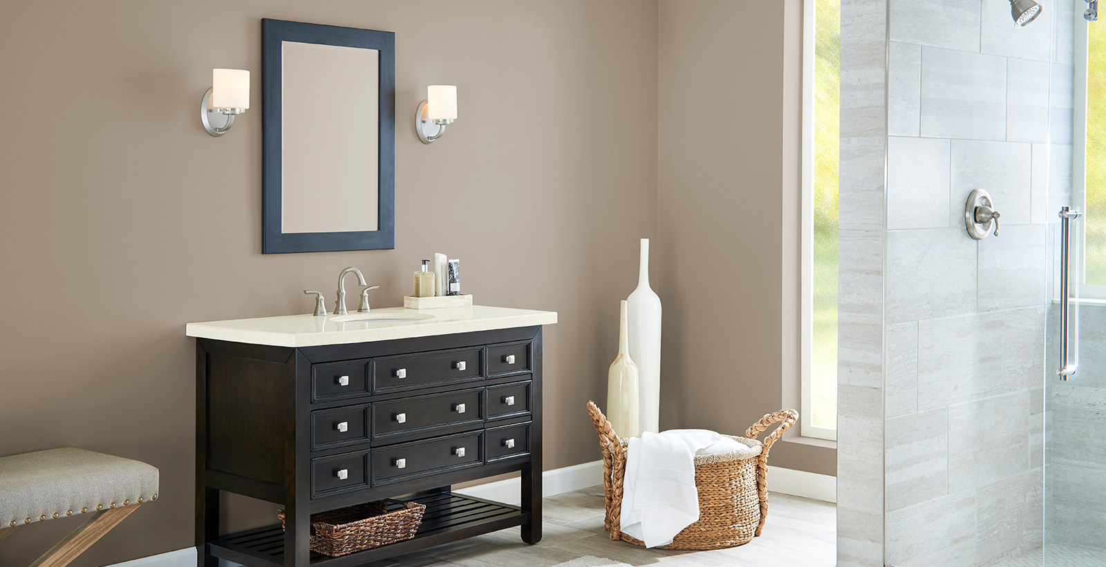 Versatile and comfortable styled bathroom with brown walls and white trim.