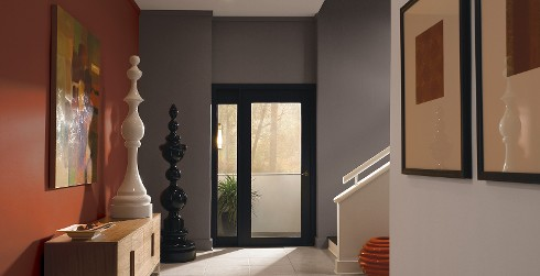 Hallway with stairs, red wall, gray wall, modern contemporary style.