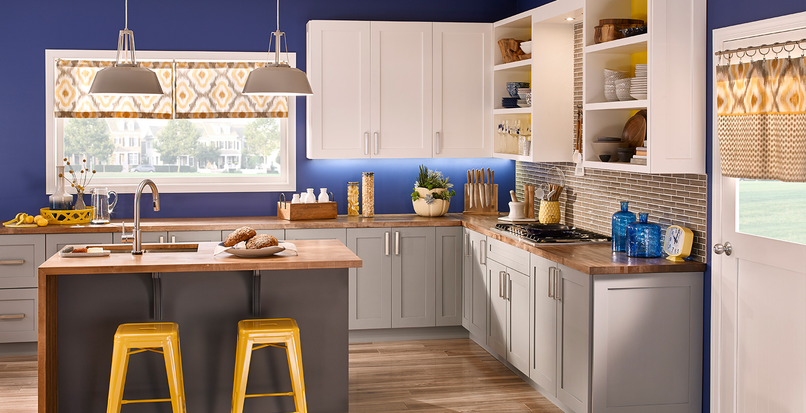 inspiring bright color kitchen design   Bold and Blue   Bold and Dramatic Kitchen Gallery   Behr