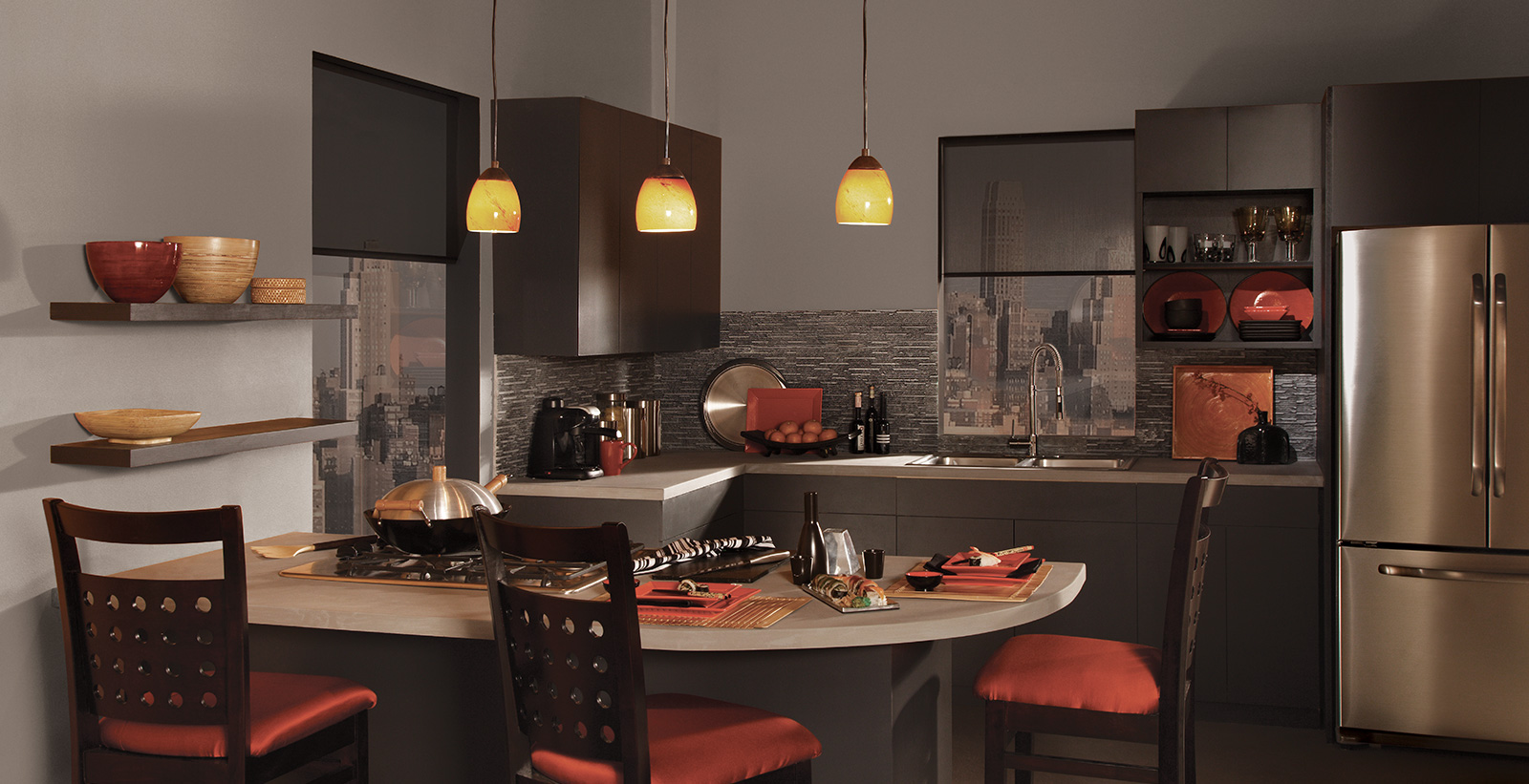 Modern kitchen with gray on walls, black-brown on cabinetry and gray textured backsplash