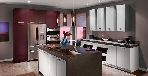 Modern kitchen with muted purple on walls,