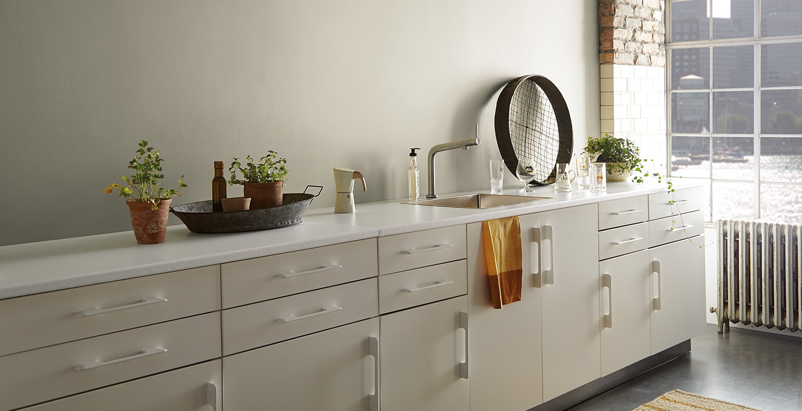 Sleek And White Relaxed And Calming Kitchen Gallery Behr