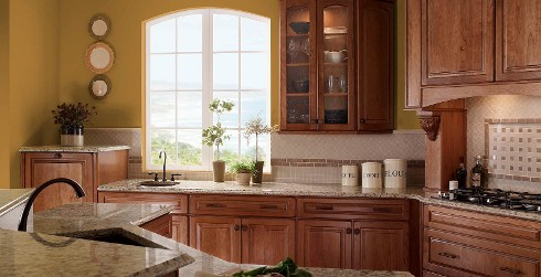 Traditional styled kitchen with golden yellow on walls, wood cabinets, and granite counter tops