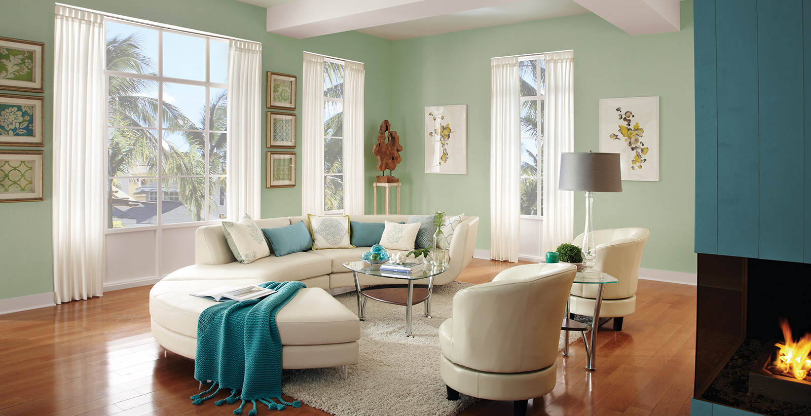 Wall Colour Inspiration: Green Living Room Gallery