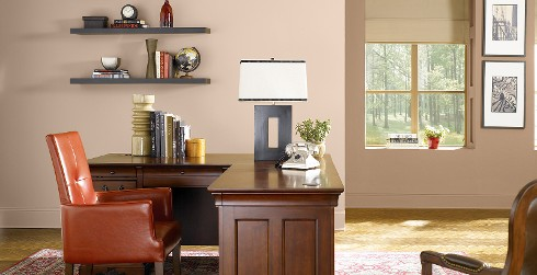 Office workspace with brown walls and brown trim, wooden desk, versatile and comfortable style.