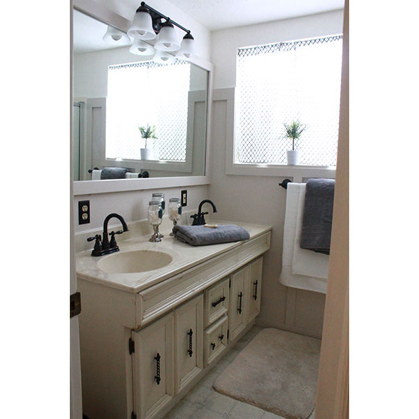 Bathroom Color Palettes: Modern Cottage-Style Repainted Bathroom With Board And