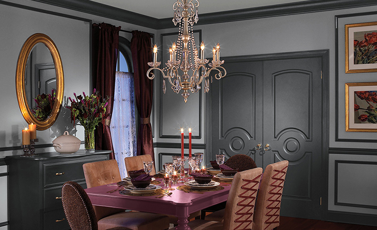 Dark gray dining room