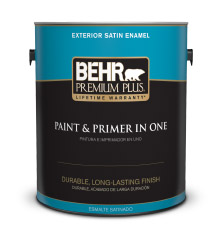 Exterior satin enamel paint behr premium plus behr for Behr exterior paint with primer reviews