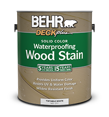 Solid color waterproofing wood stain behr deckplus behr - Interior wood stain colors home depot ...