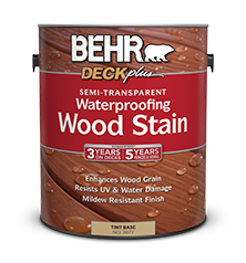 Semi Transparent Waterproofing Wood Stain BEHR DECKplus Behr