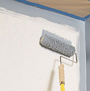 Roll paint onto walls.