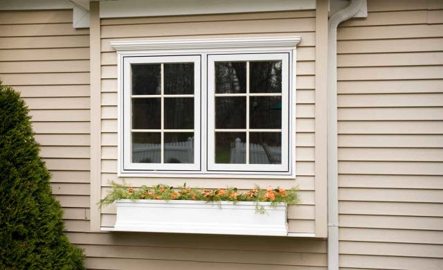 Exterior shot of windows with flower pot below