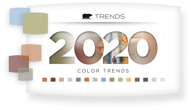 2020 Color Trends logo with color chips in each of the trend colors.