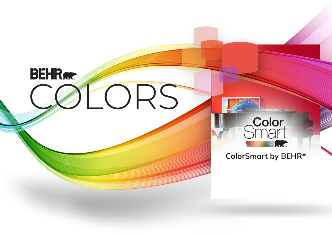 Mobile-sized creative image of ribbons of color sweeping across the page, winding around ColorSmart logo.