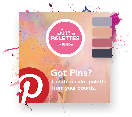 Pins to Palettes by Behr and Pintrest Logo