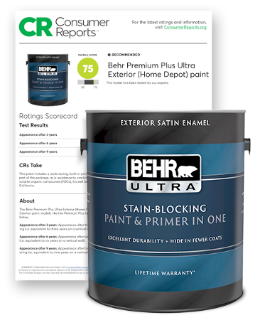 Can of Behr Ultra Exterior paint and a representation of a Consumer Report.