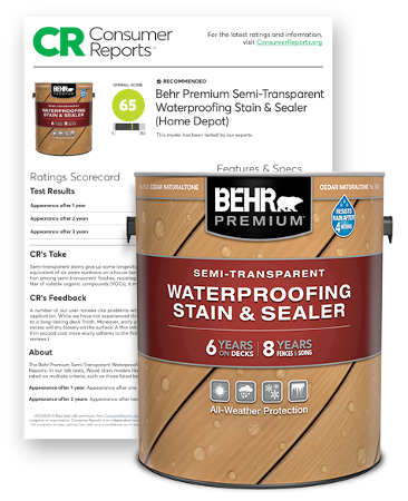 Behr Premium Semi-Transparent Stain and Consumer Report