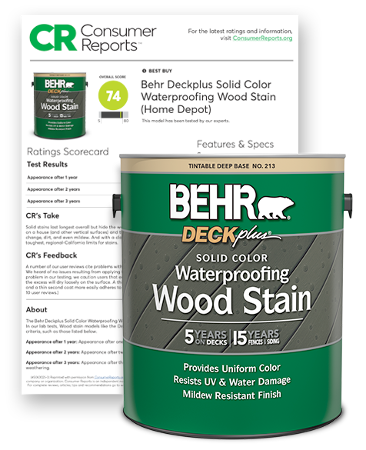 Behr DeckPlus Exterior Solid Color Stain and Consumer Report