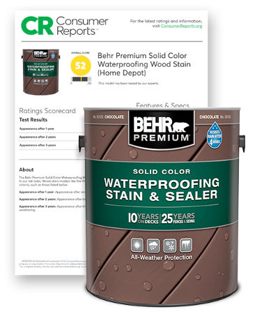 Behr Premium Exterior  Solid Color Stain and Consumer Report