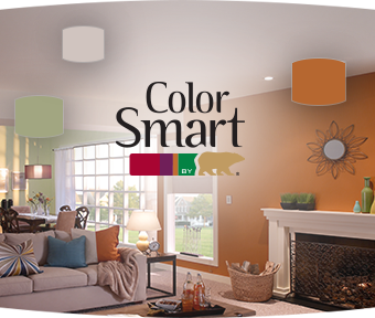 ColorSmart logo displayed against a living room background