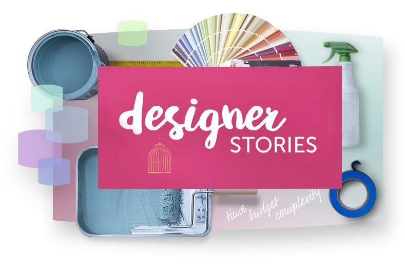 Designer stories text with open paint can, paint roller in a tray, spray bottle, and color palettes in the background