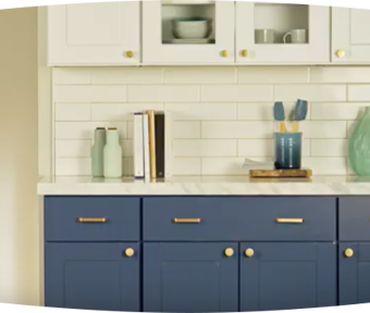 Blue kitchen cabinets with white backsplash