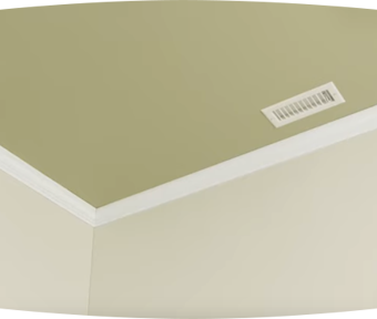 Green ceiling with white trim and off white walls