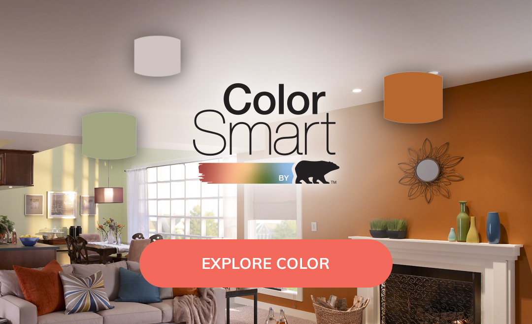 ColorSmart by Behr logo with open concept living room in the background