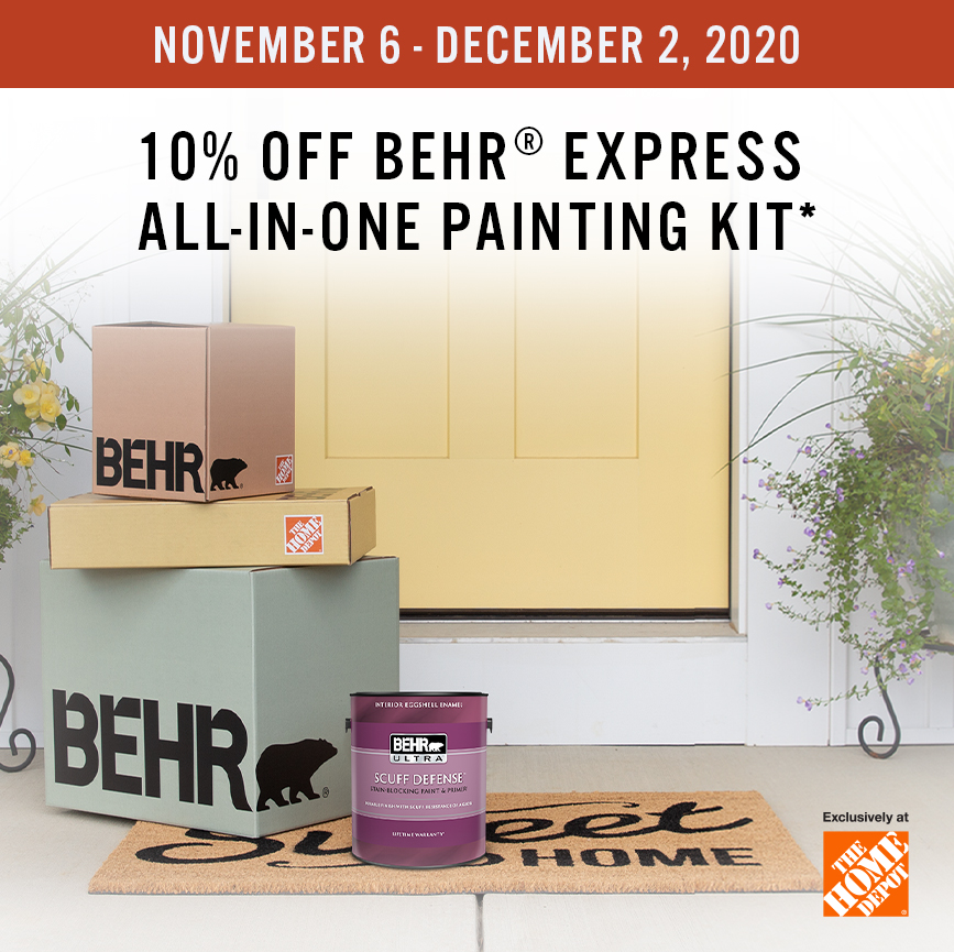 Black Friday promo from November 6 to December 2, 2020 with Behr Express paint kit in the background