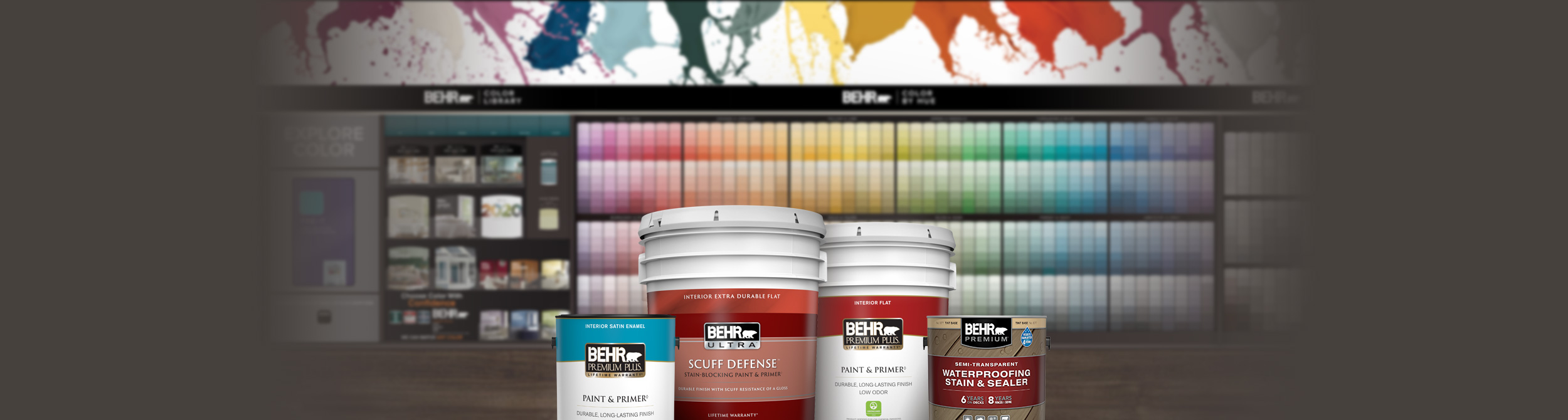 Behr Interior Paint and Exterior Stain Products in front of the 2020 Home Depot Color Solution Center.