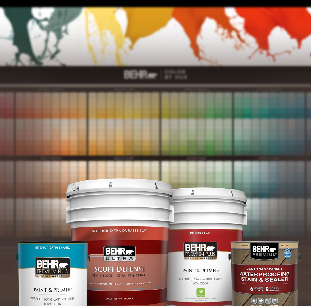 Mobile version of Behr Interior Paint and Exterior Stain Products in front of the 2020 Home Depot Color Solution Center.