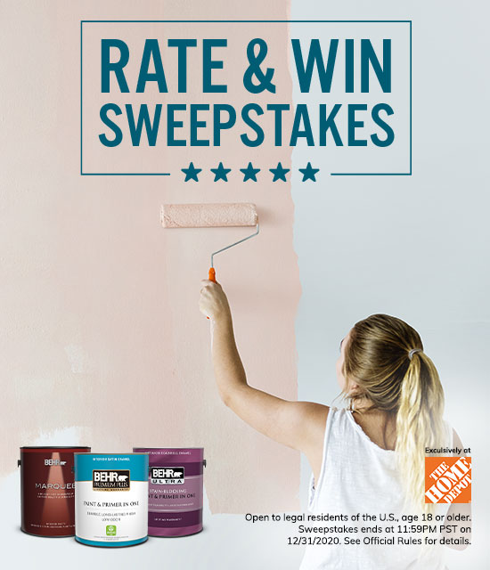 Behr Rate & Win Sweepstakes with a woman painting a wall in the background