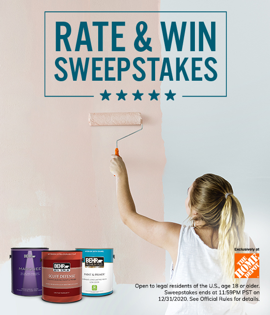 Behr Rate & Win Sweepstakes with paint cans and a woman painting a wall in the background