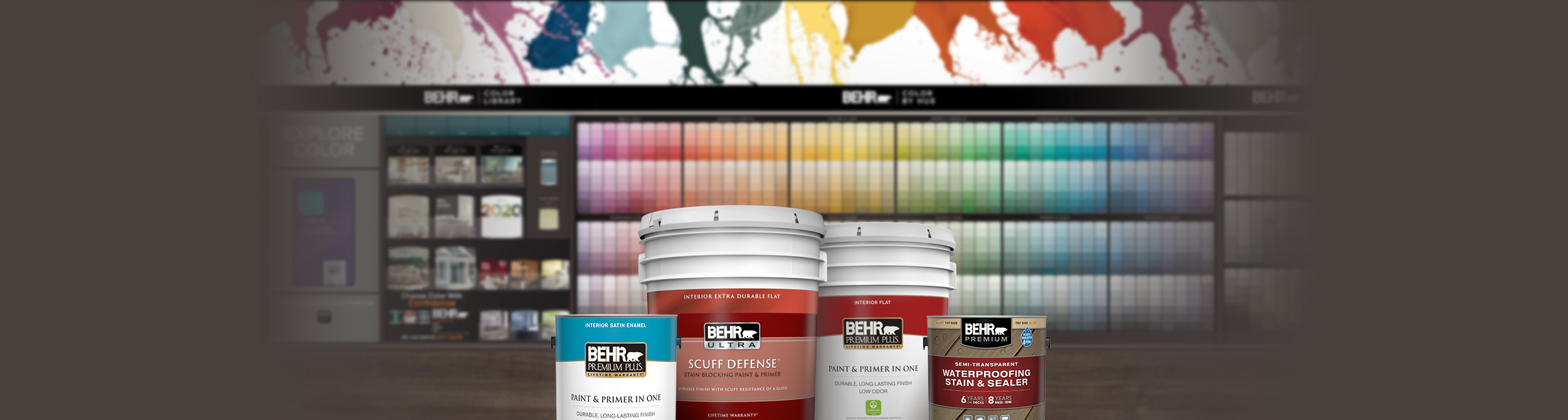 Behr Paint and Stain Products in front of the 2020 Home Depot Color Solution Center.