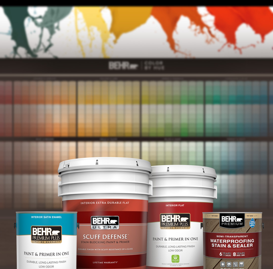 Mobile version of Behr Paint and Stain Products in front of the 2020 Home Depot Color Solution Center.