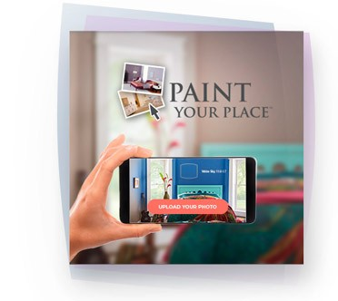 Paint Your Place logo with close-up of hand taking a cell phone photo of a bedroom in background.