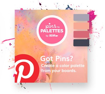 Image representing Pins to Palettes color tool, encouraging users to Create a palette using your Pinterest boards.