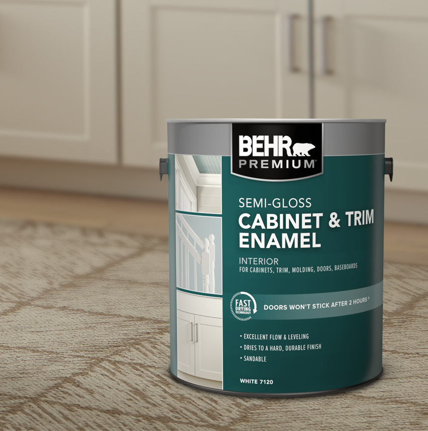 1 gallon can of BEHR PREMIUM Interior Semi-Gloss Cabinetry and Trim in the forefront