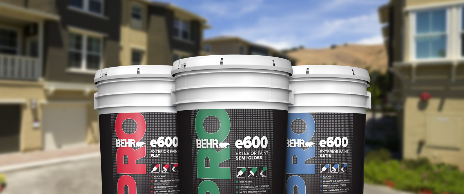 BEHR PRO exterior e600 products landing page desktop image featuring 5 gallon e600 can.