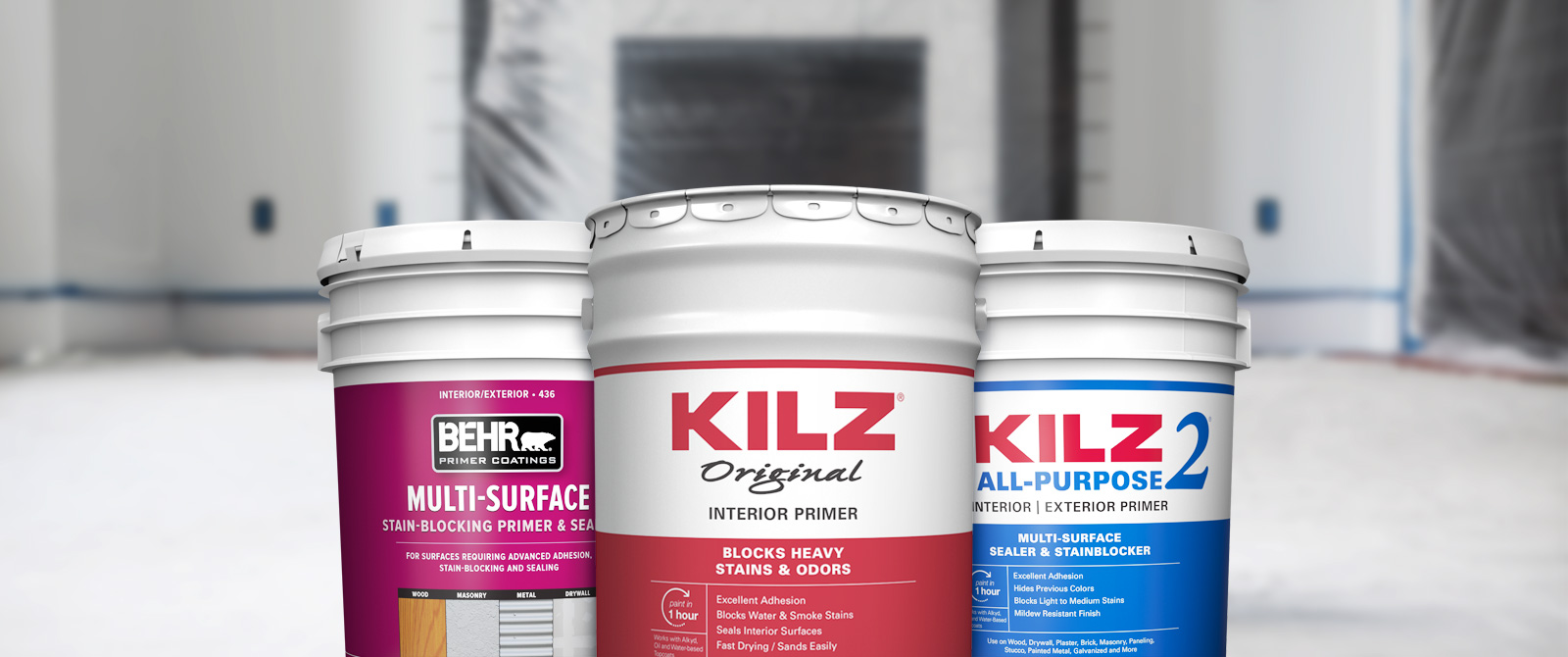 Behr Pro interior primer products landing page desktop image featuring 5 gallon cans.