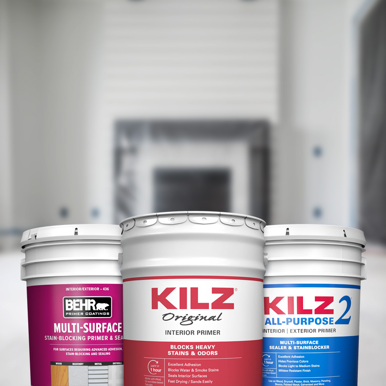 Behr Pro interior primer products landing page mobile image featuring 5 gallon cans.