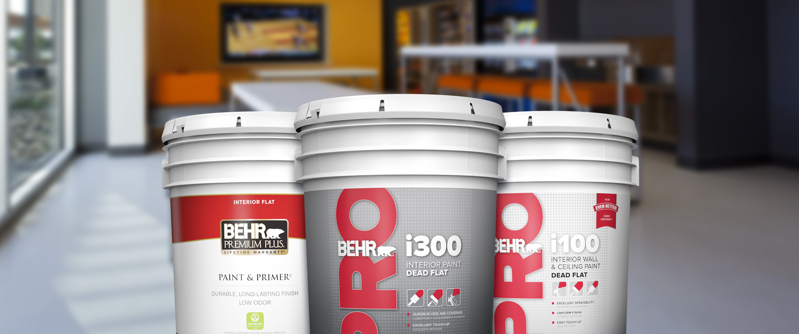 BehrPro interior products landing page desktop image featuring 5 gallon cans.