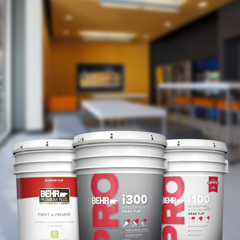BehrPro interior products landing page mobile image featuring 5 gallon cans.