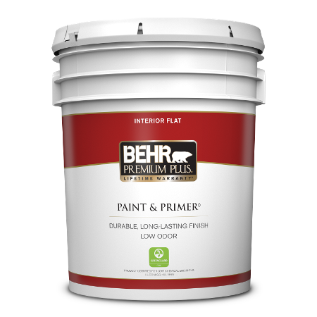 BEHR Premium Plus interior flat 5 gallon product can image.