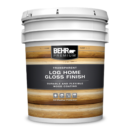 BEHR PREMIUM Transparent Log Home Gloss Finish 5 gallon image.